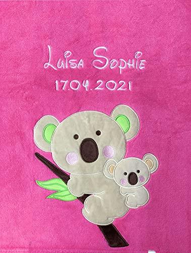 Babydecke Bestickt mit Name und Geburtsdatum / kuschelig weich / 1A Qualität nach Ökotex 100 Standard - farbecht (Pink - Koala)