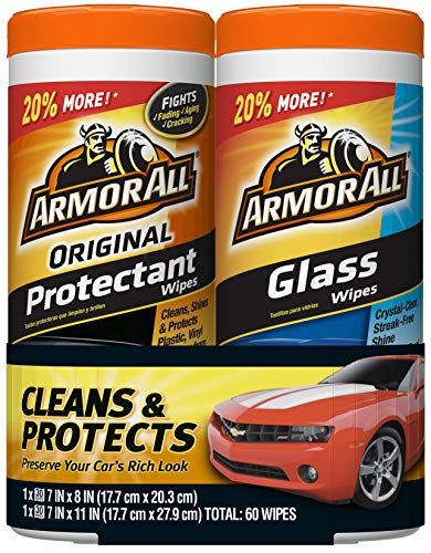 Armor All Car Interior Cleaner Glass & Protectant Wipes - Cleaning for Cars & Truck & Motorcycle, 30 Count (Pack of 2), 18780