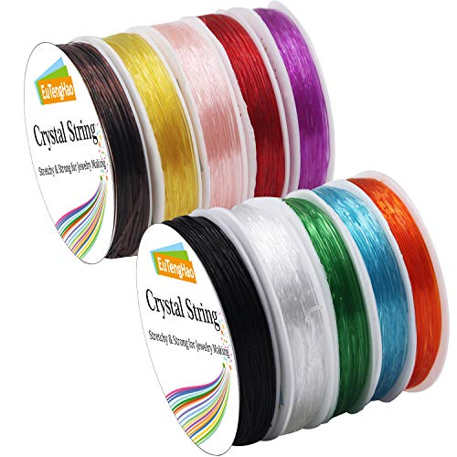 EuTengHao 10 Packs Crystal String 0.8mm Elastic String Elastic Cord Stretchy Bracelet String Bead Cord for Bracelet, Beading Jewelry Making(10 Colors, 150m)
