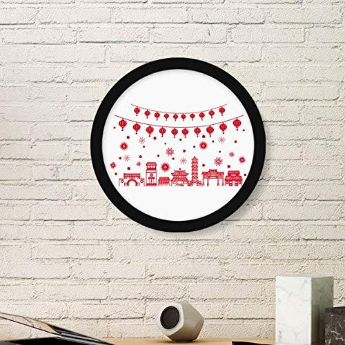 DIYthinker Lantaarn Rood Chinees Papier snijden Patroon Kunst Schilderen Foto Houten Ronde Frame Thuis Muurdecoratie Gift