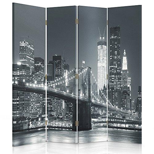 Feeby Frames Paravent Toile déco New York 1 Face 4 pans Noir et Blanc 145x150 cm