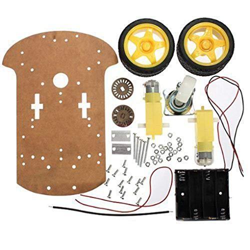 Hotaluyt Praktische intelligente Roboter-Auto Chassis Kit Geschwindigkeit Encoder Batteriebox Universal-Wheel Set Kompatibel für Arduino