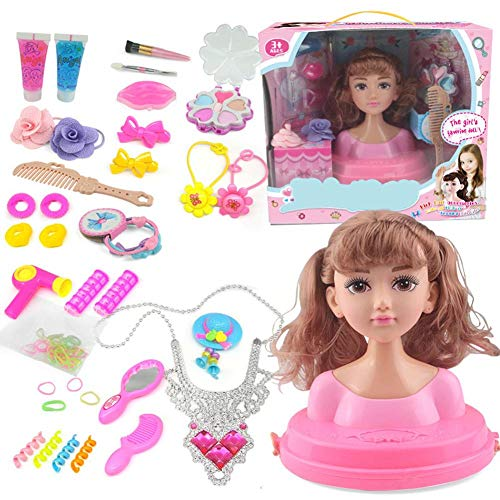 Styling Head Puppe Frisierkopf Schminkkopf, Make-up Doll Set, Prinzessin Hair Styling Head Puppenspielset Mit Beauty Und Mode Accessoires, Spiel Für Mädchen Vorgeben