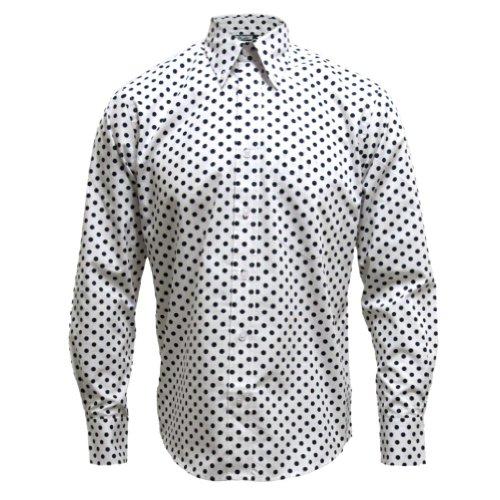 Relco - Langarm-Hemd - Mod 60er Jahre-Stil - Weiß/Blau gepunktet - XL