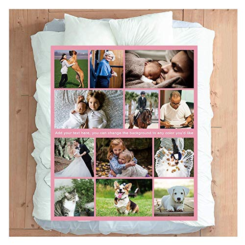 Haisimiery Fleecedecke mit Foto, personalisierbar, mit Bild, Geburtstagsgeschenk für Erwachsene, Baby, Haustier, 12 Fotos Nr. .04, Flanell-Fleece, Ihr Foto personalisiert, Twin 50''×85'' (130x220cm)