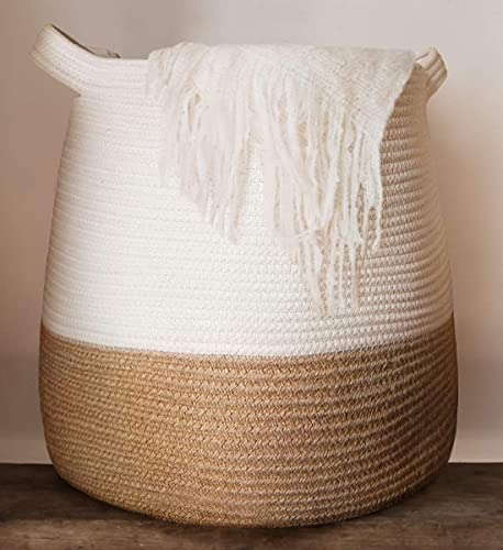 """GooBloo Large Cotton Rope Woven Basket - 17 x 17"""" Tall Decorative Storage Basket for Living Room, Toys or Blankets - Wicker Baskets with Handles, Blanket Basket - Cute Baby Laundry Hamper"""
