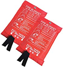 Gugou Fire Blanket Fiberglass Fire Emergency Blanket Suppression Blanket Flame Retardant Blanket Emergency Survival Safety Cover for Kitchen,Fireplace,Car,Office,Warehouse 2 Pack (39.3X 39.3 inch)