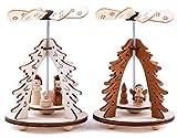BRUBAKER Set de 2 pirámides de Navidad alemán de Nivel 1-2 Motivos: Angel y Nacimiento - pirámides de Madera de Mesa de 8 x 11,5 cm Cada una.