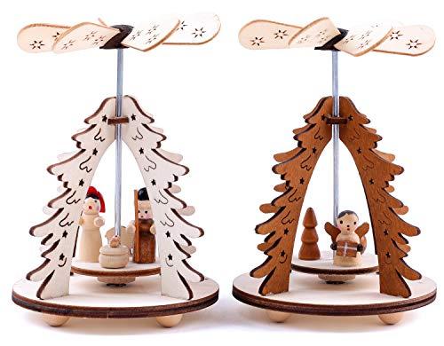 Brubaker 2er Set Weihnachtspyramide 1-stöckig Tannenbaum - 2 Motive: Engel und Christi Geburt - Holz Tischpyramiden je 8 x 11,5 cm