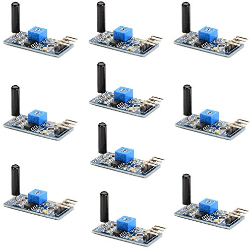 Optimus Electric 10pcs Vibration Sensor Module SW-18010P 3.3V to 5V with Digital Switch Output and LM393 Comparator for Theft Alarms Electronic Building Block Smart Car from