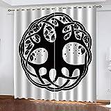 BHOMLY - Cortinas Opacas - 3D Negro Blanco Floral clásico 150x300cm Salón Dormitorio Decoración De La Ventana - Salón Dormitorio Decoración De La Ventana - 2 Piezas (An X Al)