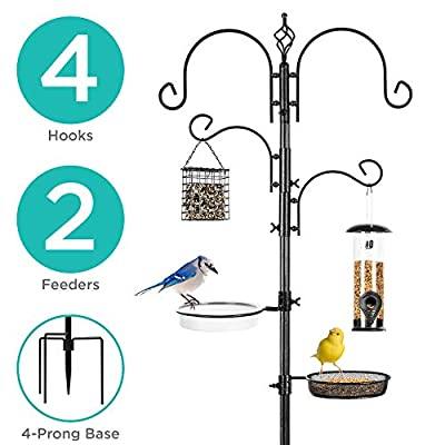Best Choice Products 4-Hook Bird Feeding Station, Steel Multi-Feeder Kit Stand for Attracting Wild Birds w/ 2 Bird Feeders, Mesh Tray, Bird Bath, 4-Prong Base