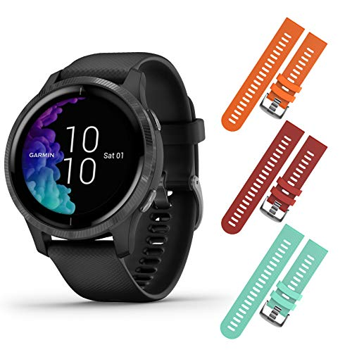 Buy Garmin Venu GPS Smartwatch with AMOLED Display and Included Wearable4U 3 Straps Bundle (Black/Sl...