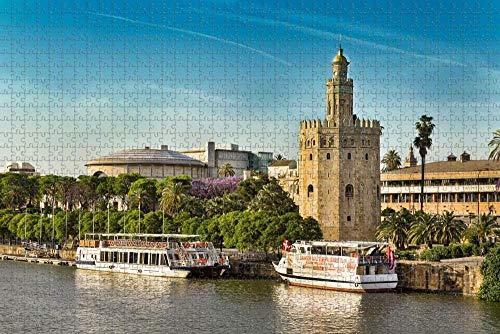 Puzzle para Adultos España Torre Dorada Sevilla Puzzle 1000 Piezas Recuerdo de Viaje