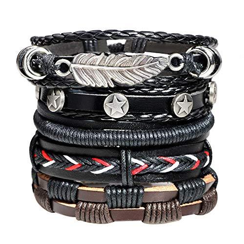 AllRing 5 pulseras vintage para hombre, cuerda multicapa, de piel, longitud ajustable, negro y marrón, de cuero trenzado, para hombre, punk