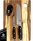Premium 7 Inch Santoku Knife Set - 2 Precision Steel Knives, Knife Sharpener and Acacia Wood Cutting Board for Chefs