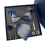 Papillon Uomo, Cravatta e Pochette, Clip di Legame Set per Uomo, Cravatta Fazzoletto gemello Clip di Legame Insieme Formale Business Matrimoni,B