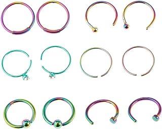 Lovoski 12pcs Nose Rings Studs Piercings Hoop Jewelry Stainless Steel Nose Rings