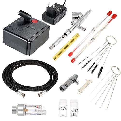 KKmoon Airbrush Kompressor Set, Gravitation Feed Dual Action Airbrush Luftkompressor Kit für Kunst Malerei Maniküre Spray Modell Pinsel Werkzeug Set