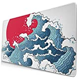 Large Gaming Mouse Pad, Non-Slip Rubber Base Computer Mouse Pads,Multi-Function Mouse Pad Gaming - Waves and Sun Asian Japanese Abstract Blue White Ocean Wave Sun Seamless Pattern C
