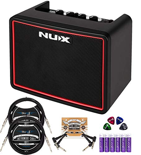 NUX Mighty Lite BT Portable Mini Amplifier Bundle with Blucoil 2-Pack of 10-FT Straight Instrument Cables (1/4in), 2-Pack of Pedal Patch Cables, 4x Guitar Picks, and 6 AA Batteries