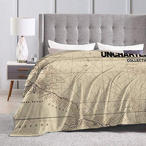 Yaxinduobao Bed Blanket Throw-Blankets for Kids Teenages Adults Uncharted Map Design Ultra Soft Micro Fleece Blanket Couch 60X50inches
