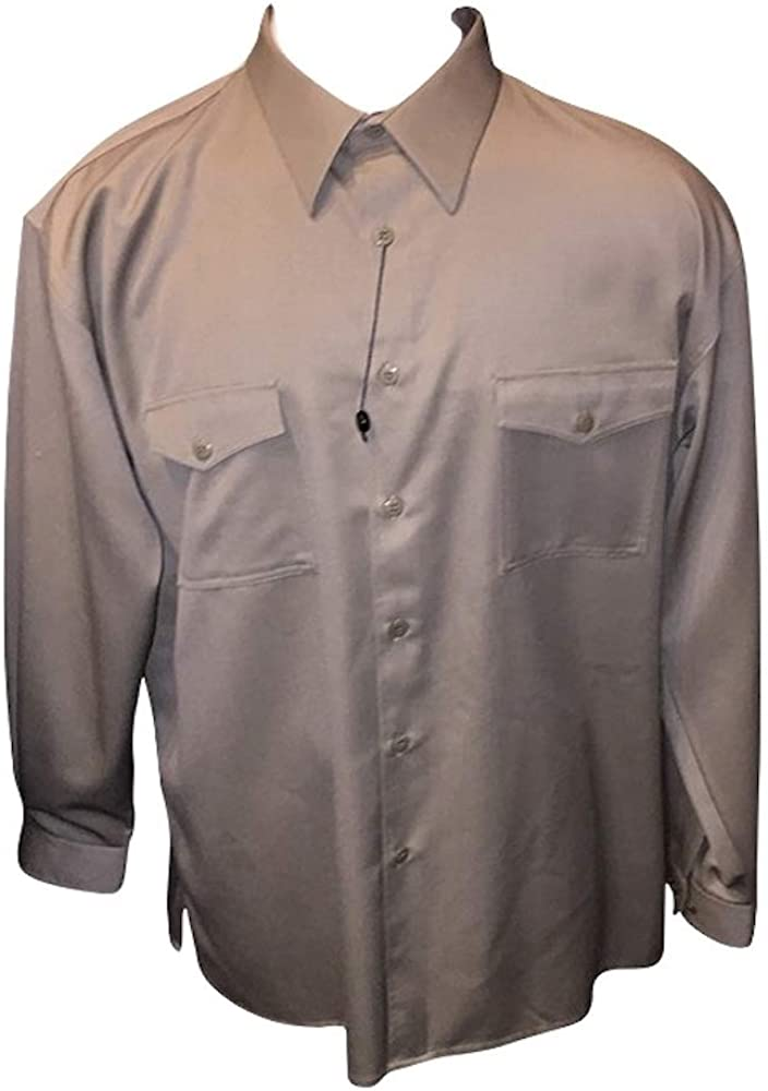 DREAMS 2X 100% Wool Casual Military Style Long Sleeve Tan Two Pocket Shirt