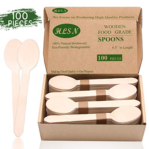 HLSN-Disposable Wooden Knife Wooden Fork Wooden Spoon Cutlery Set Natural Birch Biodegradable Food Grade Certification (100 Spoons)