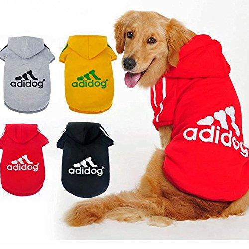 Ropa para perro Adidog, abrigos, sudaderas, camisetas, para mascotas cachorros, con diseño deportivo y capucha