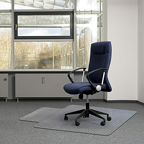 "Kuyal Office Chair Mat for Carpets,Transparent Thick and Sturdy Highly Premium Quality Floor Mats for Low, Standard and No Pile Carpeted Floors, with Studs (36"" X 48"" with Lip)"