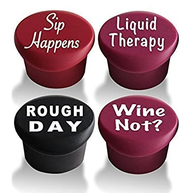 4 Wine Stoppers - Best Wine Gifts Accessories to Label Your Personalized Wine Bottles and Racks. Seal Your Favorite Wine with Reusable Silicone Bottle Cap Art