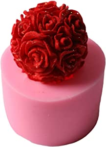 BestTeam Silicone Candle Mold, 3D Rose Ball Aromatherapy Candle Mould for Lotion Bar, Bath Bomb, Wax Crayon, Polymer Paper Fimo Clay, Art Craft Gift (7.55.7CM)
