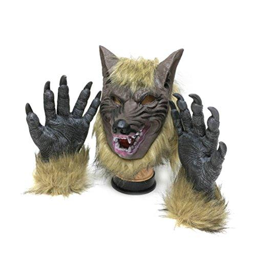Tinksky Máscara Halloween de Látex Cabeza de Lobo y Garras
