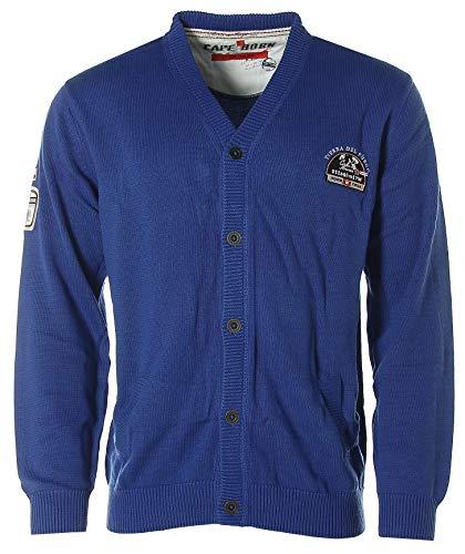 Signum Herren Strickjacke Strick Jacke mit V-Ausschnitt -Cape Horn- Blau L