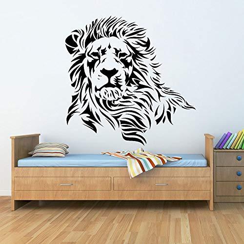 Cabeza de león macho Africano Animal salvaje Rey Bestia Selva Predator Etiqueta de la pared Vinilo Coche Calcomanía Niño Dormitorio Sala de estar Estudio Oficina Decoración del hogar Mural