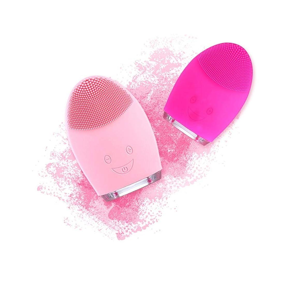 代わりにを立てる超音速対人ZXF USB充電式シリコンクレンジング楽器超音波洗顔毛穴きれいな防水美容器ピンク赤 滑らかである (色 : Red)