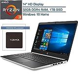 2020 HP 14 14' Micro-Edge Laptop Computer, AMD Ryzen 3 3200U up to 3.5GHz (Beats i5-7200U), 32GB DDR4 RAM, 1TB SSD, 802.11AC WiFi, Bluetooth 4.2, HDMI, USB Type-C, Windows 10 Home, YZAKKA Mouse Pad