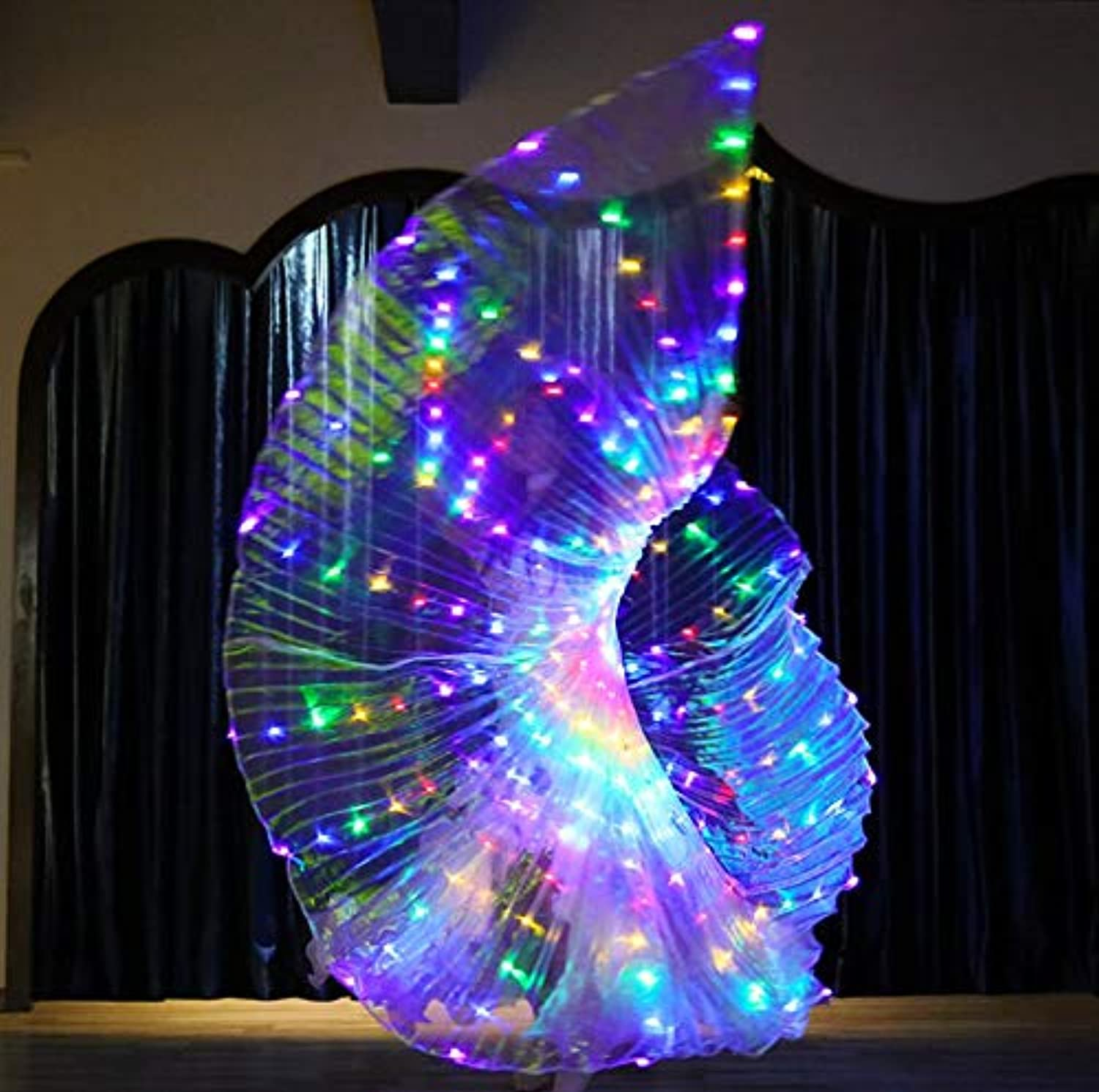 Z&X Dance Fairy Opening Belly Dance LED Isis Wings with Sticks Rods-Wings 300 LED Luminous Light Up Stage Performance Props