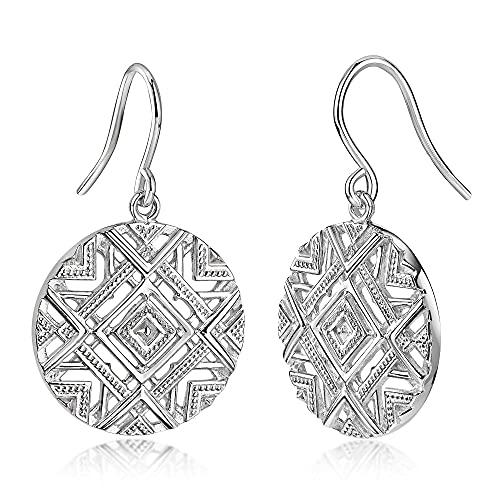 MATERIA Damen Ohrhänger Ohrringe 925 Silber afrikanisch rund rhodiniert mit Schmuckbox #SO-338