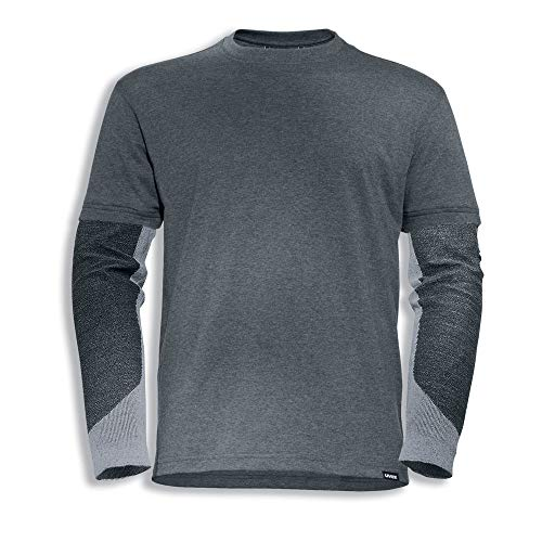 Uvex Cut Doubleflex Herren-Arbeitsshirt - Dunkelgraues Männer-T-Shirt - Ärmel mit Schnittschutz-Stufe 5 L