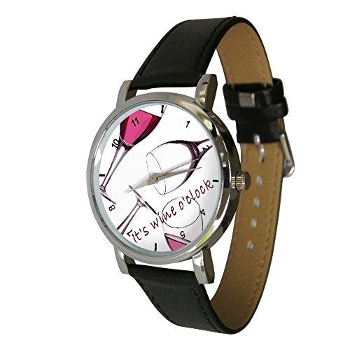 Your Watch Design Unisex Uhr. Erwachsenengröße. Analog Quarz mit Leder Armband, Wine Oclock