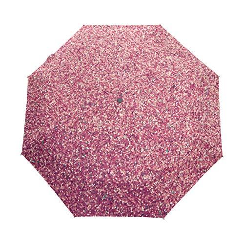 Regenschirm 3 Falten anpassen Glitzer-Stil Anti-UV Auto Öffnen Schließen Winddicht Leichtgewicht