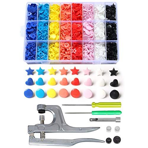 Accesorios de costura T5 SNAPS BOTONES DE PLÁSTICO CON SNAPS Juego de alicates para la ropa de costura, baberos, Abrigo de lluvia Herramientas hechas a mano (organizador floral) para tela de jersey de