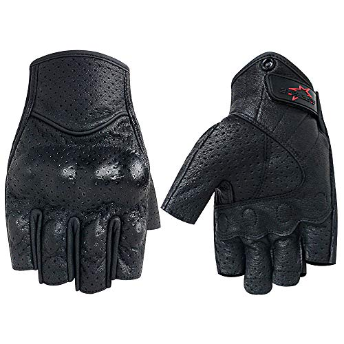 Men's Summer Motorcycle Gloves Fingerless Leather Motorcycle Cycling Gloves with Knuckle Armored(G11-Black,L)