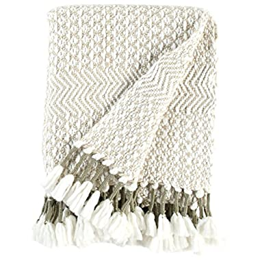 Rivet Modern Hand-Woven Stripe Fringe Throw Blanket, 50  x 60 , Tan, Ivory