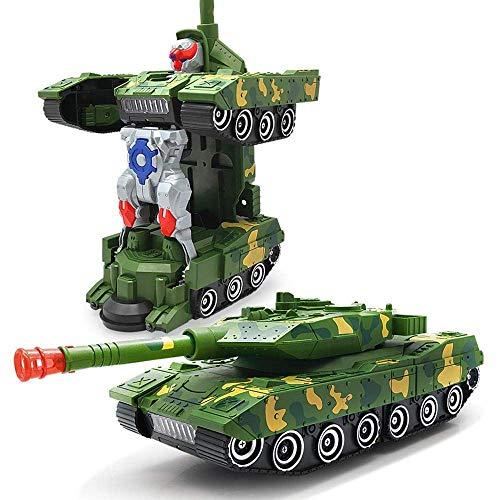 idreamtrader Car Deform Robot with Light & Sound Transformer Concept Kids Childrens Toy - Best Gift (Combat Tank)