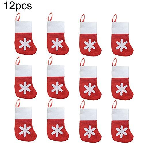 Delleu Mini Medias de Navidad a Granel, 12 Piezas pequeñas Medias de Copo de Nieve de Navidad para niños Bolsas...