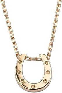[四葉のクローバー] ピンクゴールド 10金 馬蹄 ネックレス 40cm K10 ホースシュー ペンダント レディース 女性 品質保証書付:Ma352