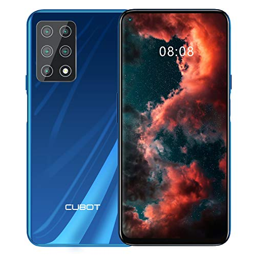 CUBOT X30 Smartphone, 4G Teléfono Móvil, Pantalla FHD + de 6,4 Pulgadas, 6 GB RAM + 128 GB ROM, Cinco Cámaras, Dual SIM, 4200 mAh, Android 10.0, NFC, Face ID,Azul