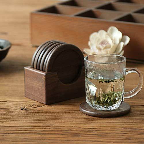 Coaster - Juego de 6 posavasos de madera para beber, taza de café, fácil de limpiar, manteles individuales redondos, soporte para mesa de té, accesorios de cocina (color: marrón)